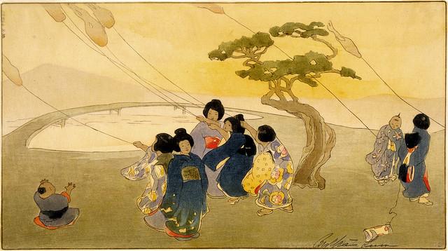 Japanese women flying kites
