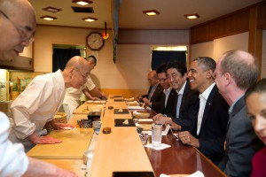 Barack Obama with Jiro Ono